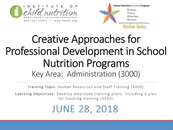 School Nutrition S T A R  Webinar Archive - June 2018