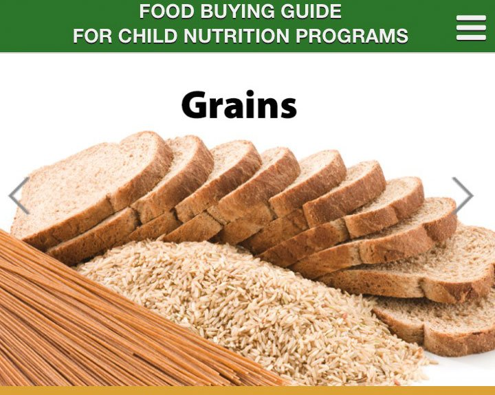 Screenshot of Food Buying Guide mobile app grains page