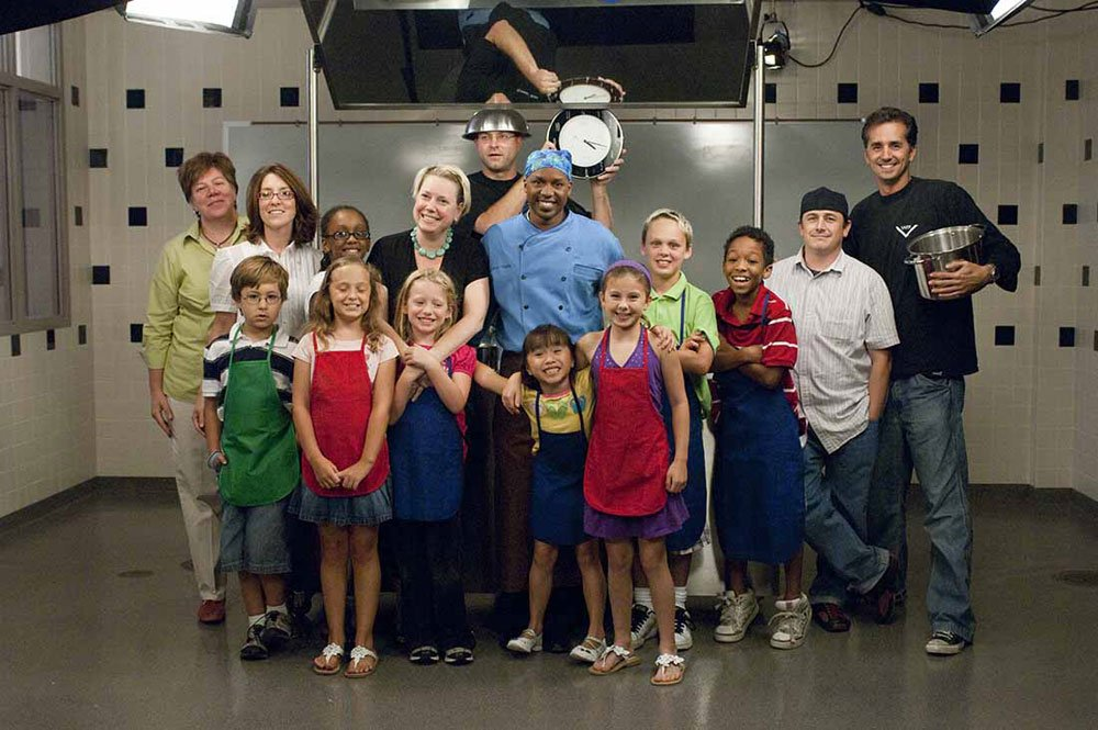 Chef Marvin Woods with the production crew and kid chefs during filming of Season Three: Cooks for Kids: Cooking Green Across America at the Institute in Oxford, Mississippi.