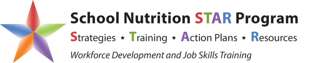 Logo for the School Nutrition STAR Program: Strategies, Training, Action Plan, Resources. Logo is a multicolored star with text.